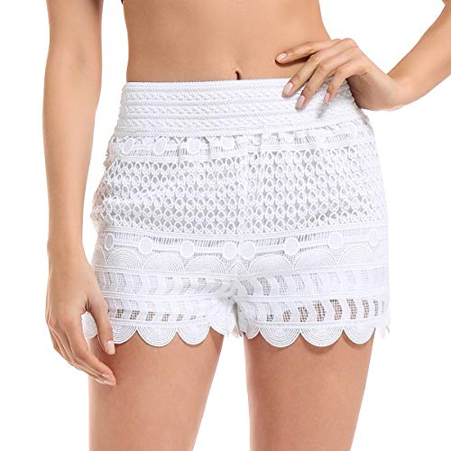 (JTANIB Women's Lace Shorts, Fitted Scallop Hem Crochet Casual Summer Shorts White L)