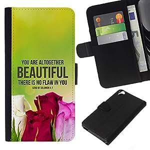 All Phone Most Case / Oferta Especial Cáscara Funda de cuero Monedero Cubierta de proteccion Caso / Wallet Case for HTC Desire 820 // BIBLE There Is No Flaw In You - Song Of Solomon 4:7