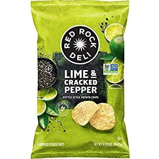 Red Rock Deli Potato Chips, Lime and Cracked Pepper, 6.875 Ounce