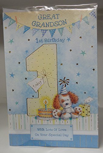 Amazon Great Grandson 1st 1 Today Happy Birthday Card With A