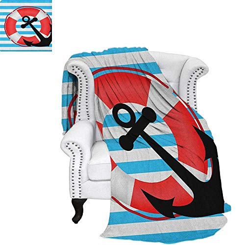Anchor Warm Microfiber All Season Blanket Blue Striped Backdrop with Lifebuoy and Anchor Aboard Travel Protection Summer Quilt Comforter 62