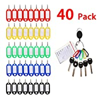 Key Tags, Kakbpe 40 Pieces of Plastic Key Tags Luggage Tags ID Label Tags with Split Rings and 2 pieces of Badge Holder Carabiner Reel and 6 pieces of Key Ring