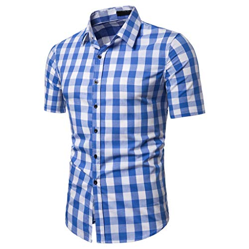 JJLIKER Men's Regular-Fit Short-Sleeve Plaid Shirt Casual Business Button Down Shirts Classic Formal Tops Blue