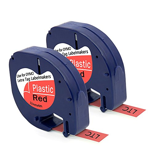 MARK LIFE Label Tape Compatible with Dymo LetraTag Label Makers,Black on Red, 2 Packs