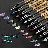 Allnice Paint Marker Pens Acrylic Paint Pens Set 10 Colours Metallic Markers Pen for Rock Painting, DIY Card, Pebble Art