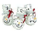 Christmas Concepts Pack of 3 8.5cm Mirror Snowman Hanging Christmas Tree Baubles - Christmas Decorations