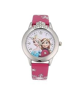 Cartoon Children's Watch, Leather Strap Frozen Theme Design Wristwatch for Girls Children, Casual Quartz Wristwatch