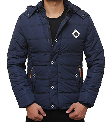 Mens Winter Thicken Cotton Coat Puffer Jacket collection (M, Navy - Puffer Jacket Canada Logo)
