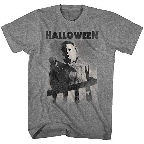 A&E Designs Halloween T-Shirt Michael Myers Over The Banister Graphite Heather Tee, Large ()