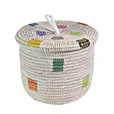 African Fair Trade Hand Woven Lidded Basket, Prismatic Pixels