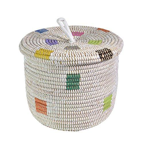 Fair Trade Baskets - African Fair Trade Hand Woven Lidded Basket, Prismatic Pixels