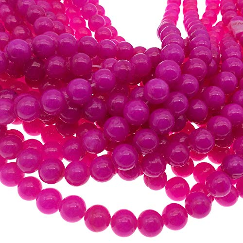8mm Glossy Smooth Dyed Bright Magenta Natural Jade Round/Ball Shaped Beads - Sold by 14.5