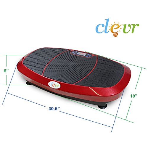 Clevr Fitness Whole Body Vibrating Platform Machine, 360 Degree Shake, 3D Dual Motor Full Body Vibration with Remote Control & Resistance Bands for Balance & Versatile Workouts, Red