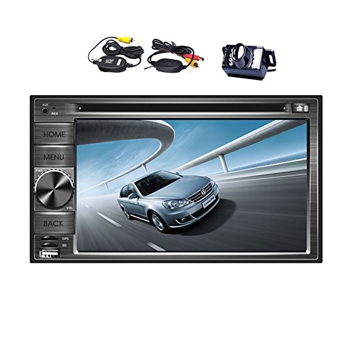 Double Din In Dash Car DVD Player GPS Navigation 2din auto radio 6.2 Inch Touch Screen Car Stereo with SAT NAV Support Bluetooth/USB/SD/iPod+Wireless Backup Camera