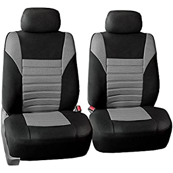 FH GROUP FH-FB068102 Premium 3D Air Mesh Seat Covers Pair Set (Airbag Compatible), Gray / Black Color- Fit Most Car, Truck, Suv, or Van