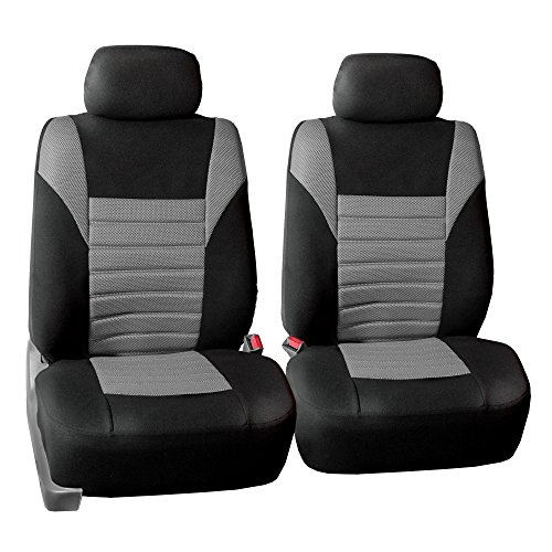 (FH Group FB068102 Premium 3D Air Mesh Seat Covers Pair Set (Airbag Compatible), Gray/Black Color- Fit Most Car, Truck, SUV, or Van)