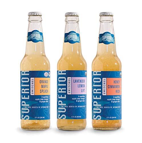 Organic Sparkling Apple - Superior Switchel Sampler Pack | USDA Organic | Lavender Lemon Lift | Orange Maple Splash | Honey Cinnamon Kick | Sparkling Apple Cider Vinegar and Ginger Drink | 3 - 12oz Bottles Variety Pack