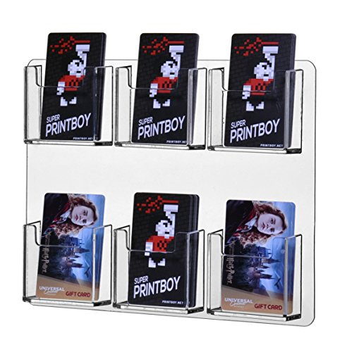 Marketing Holders Clear Acrylic Wall Mountable Vertical 6 Pocket Business Card Holder by Marketing Holders