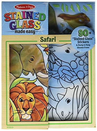 Melissa & Doug Stained Glass Made Easy Activity Kit: Safari - 90+ Stickers, Wooden Frame