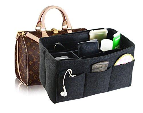 Felt Fabric Handbag Organizer,Insert Purse Organizer 12 Pockets Structure Shaper 4 size Black Medium