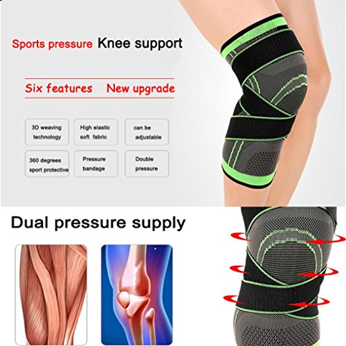 Coohole 1 PC 3D Weaving Knee Brace Breathable Sleeve Support for Running Jogging Sports (Fully Enclosed Trim)