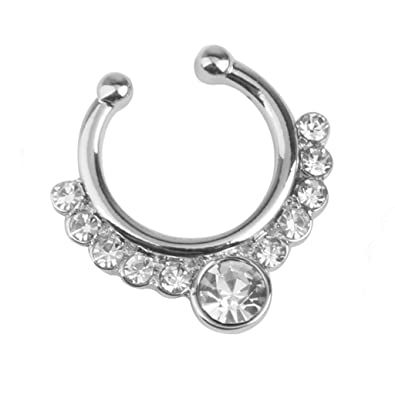 Buy Imported 1pc Crystal Fake Septum Nose Ring Non Piercing Hanger