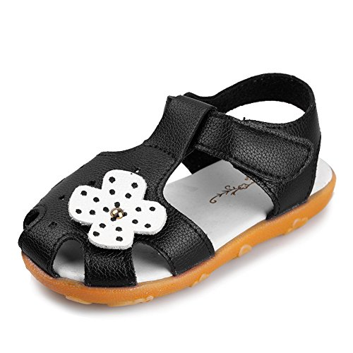 CIOR Girls' Closed-Toe Leather Solid Flower Outdoor Sport Casual Sandals(Toddler/Little Kid),TLX01,Black,28 (Leather Toddler Black)