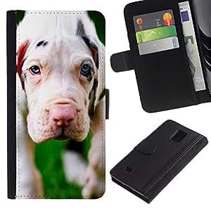 Be Good Phone Accessory // Caso del tirón Billetera de Cuero Titular de la tarjeta Carcasa Funda de Protección para Samsung Galaxy Note 4 SM-N910 // White Great Dane Puppy Dog White