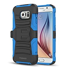 Galaxy S6 Case, MoKo Shock Absorbing Hard Cover Ultra Protective Heavy Duty Case with Holster Belt Clip + Built-in Kickstand for Samsung Galaxy S6 5.1 Inch (2015) - Blue