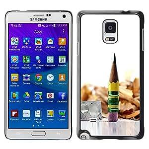 Caucho caso de Shell duro de la cubierta de accesorios de protección BY RAYDREAMMM - Samsung Galaxy Note 4 - pencil graphite metal wood