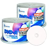Smartbuy 100-disc 8.5gb/240min 8x Dvd+r Dl Dual Layer Double Layer White Inkjet Hub Printable Blank Data Recordable Media Disc Spindle