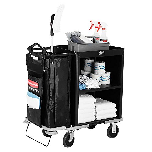 TableTop king 9T60 Metal Compact Housekeeping Cart (FG9T6000BLA)