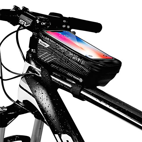 WILD MAN Bike Phone Mount Bag, Cycling Waterproof Front Frame Top Tube Handlebar Bag with Touch Screen Holder Case for iPhone X XS Max XR 8 7 Plus, for Android/iPhone Cellphones Under 6.5″
