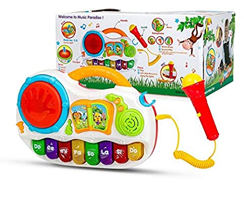 Play Baby Toys Discover And Play Music, Magical Piano With Sing Along Karaoke MIcrophone & Tap Me Drum Effect & Twisted - Sing Along Microphone