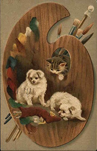 Dogs, Cats, and Artist's Pallette Multiple Animals Original Vintage Postcard from CardCow Vintage Postcards