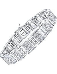 """Men's Sterling Silver .925 Bracelet with Channel Set Fancy Princess and Round Shaped Cubic Zirconia (CZ) Stones, Box Lock, Platinum Plated 8"""" 9"""""""