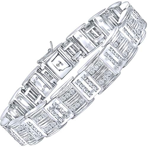 Channel Set Bracelet - Men's Sterling Silver .925 Bracelet with 176 Channel Set Fancy Princess and Round Shaped Cubic Zirconia (CZ) Stones, Box Lock, Original Design, Platinum Plated 8