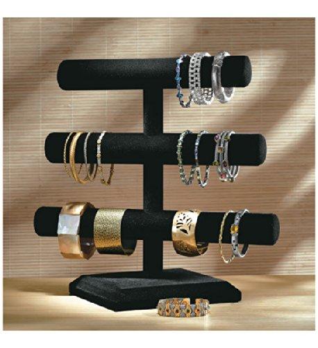 Dial Industries Black Velvet Three Tier Jewelry Organizer, Large