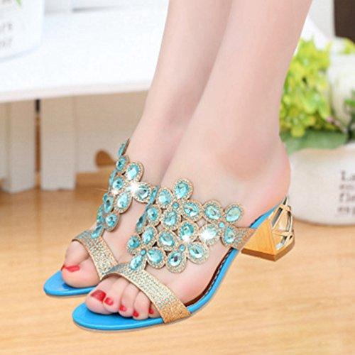 Robe de des Talon Blocage Mode Anti Forme Orteil Femmes JITIAN Dérapant de Sandales Bleu Chaussures étincelante Plate Ouvert Strass awxpnqvPO