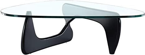 Amazon Com Emodern Furniture Mid Century Modern Style Coffee Table Glass Top Hardwood Base Black Kitchen Dining