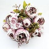 Junlinto 1 Bouquet Light Pink Vintage Artificial Peony Silk Flower Room Wedding Decor DIY - Light Purple