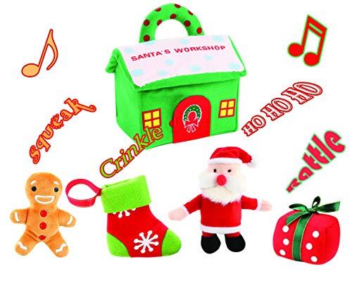 (Animal House Santa's Workshop Carrier with Plush Sound Figure Toys   Plush Baby Gift   Toddler Gift Stocking Stuffer)