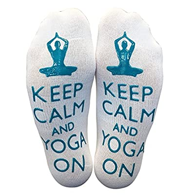 'Keep Calm & Yoga On' Funny Yoga Ankle Socks at Amazon Women's Clothing store