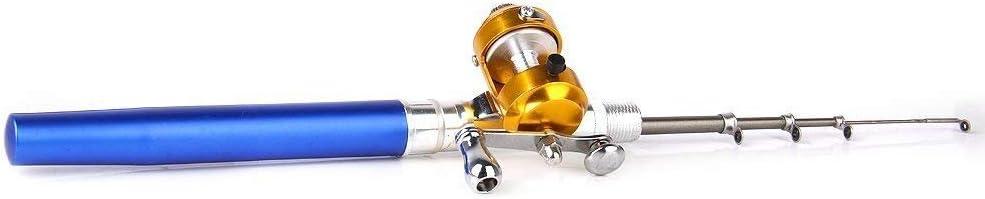BeatlGem Mini Port/átil Bolsillo Peces Forma de Barco Aleaci/ón de Aluminio Ca/ña de Pescar Polo Bobina Combos Azul