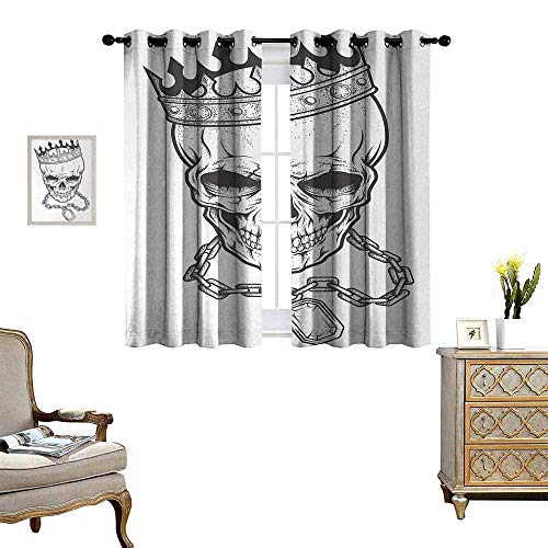 Anyangeight King Patterned Drape for Glass Door Sketchy Skull with Crown Hip Hop Street Style Necklace Chain Gem Image Print Waterproof Window Curtain W63 x L63 Charcoal Grey White