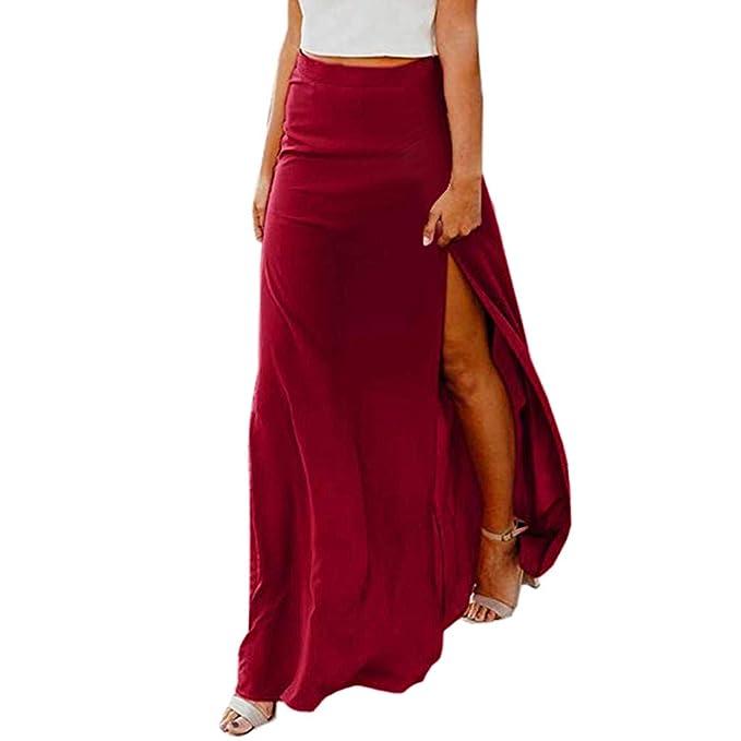 ACEBABY Color sólido Tenedor de la Mujer Falda Delgada de Color ...