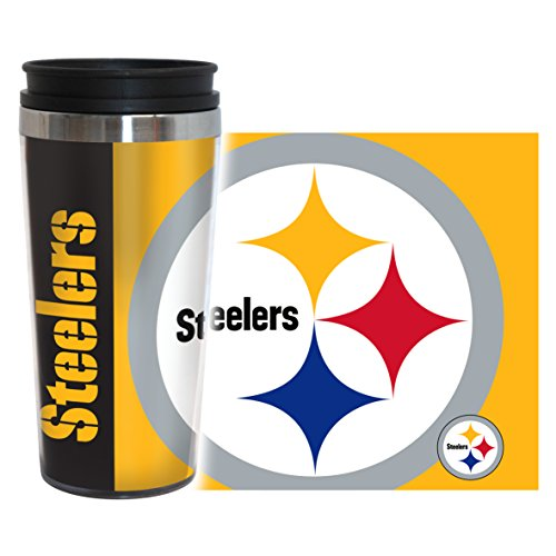 NFL Pittsburgh Steelers Hype Travel Tumbler, 16-ounce, (Pittsburgh Steelers Travel Mug)