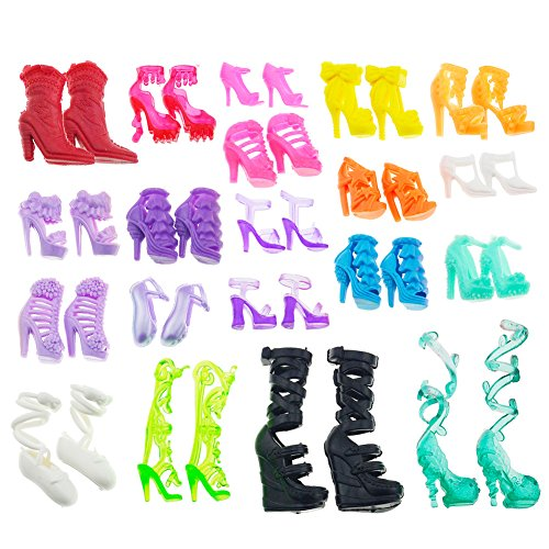 Asiv 60 Pairs Various High-Heel Shoes Boots Accessories for Barbie Dolls, Girls Christmas Birthday Gift