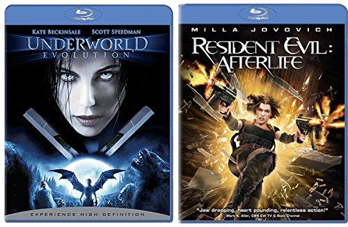 Resident Evil: Afterlife + Underworld Evolution Blu Ray movie Set - Vampires & Lycans