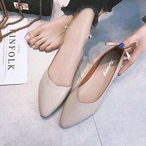 de Zapatos Fondo Beige de Mujer Abuela de Punta Soja Qiqi versátil Superficial Retro Xue y Boca Zapatos Solo Zapatos Zapatos Plano con qwzT1